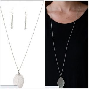 FALL FOLIAGE SILVER NECKLACE/EARRING SET
